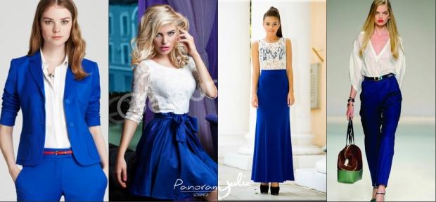Сочетание синего с белым платье