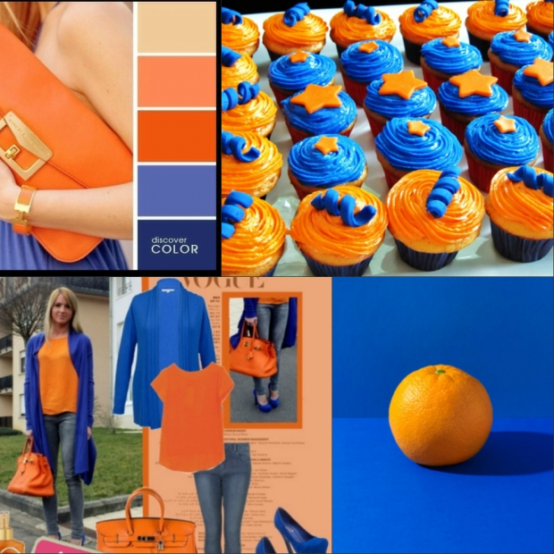 Сочетание цветов синий и оранжевый