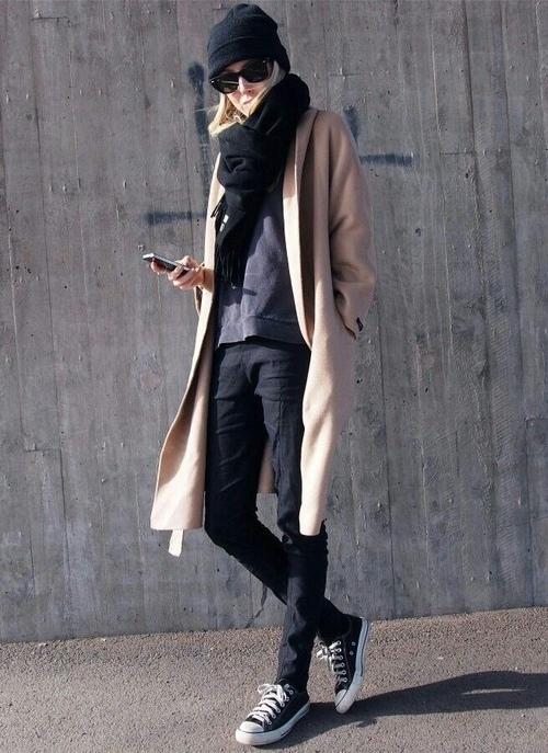 кеды converse с пальто