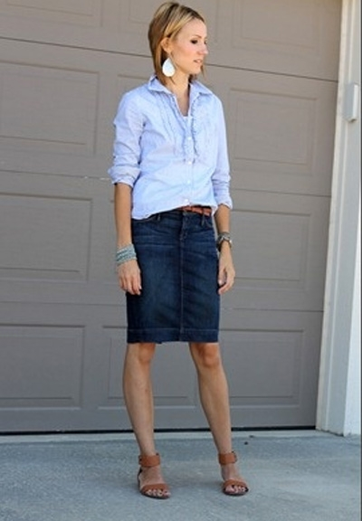 С чем носить классическую джинсовую юбку