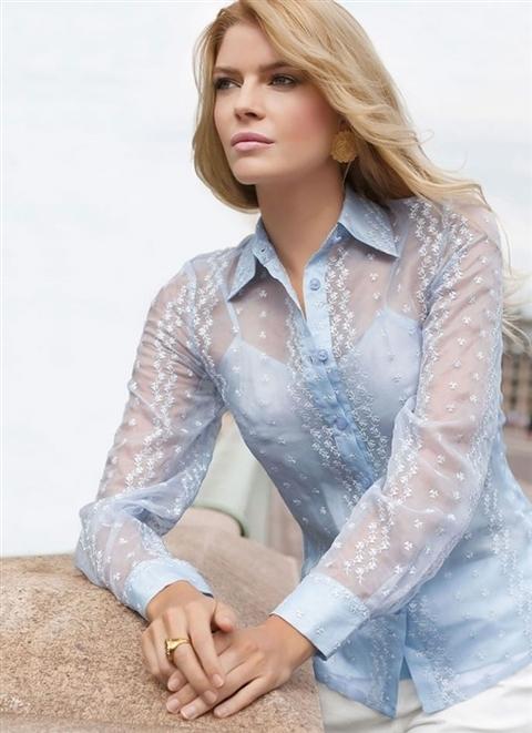Красивая девушка с прозрачной блузкой