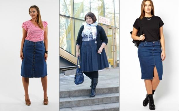 Джинсовая юбка на толстой