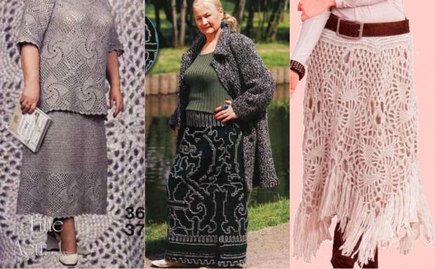 Ажурные вязаные юбки с чем носить