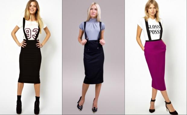 491921d3d36 Очень часто подтяжки используют при ношении юбки прямого кроя с завышенной  талией