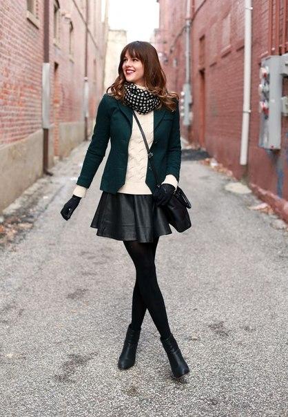 Кожаная юбка и пиджак фото