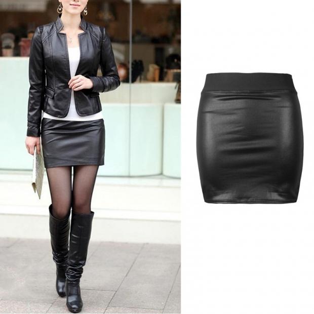Черная юбка под кожу