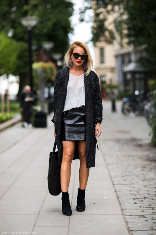 Кожаные пальто юбка