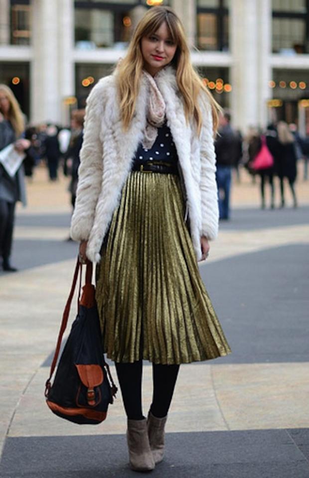 Гофрированная юбка миди с чем носить
