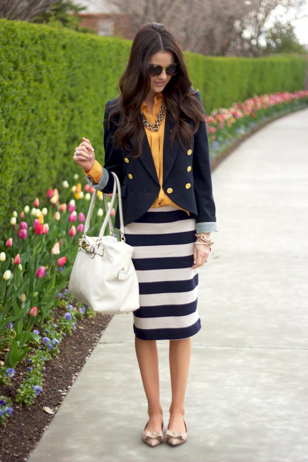 С чем носить черную юбку в белую