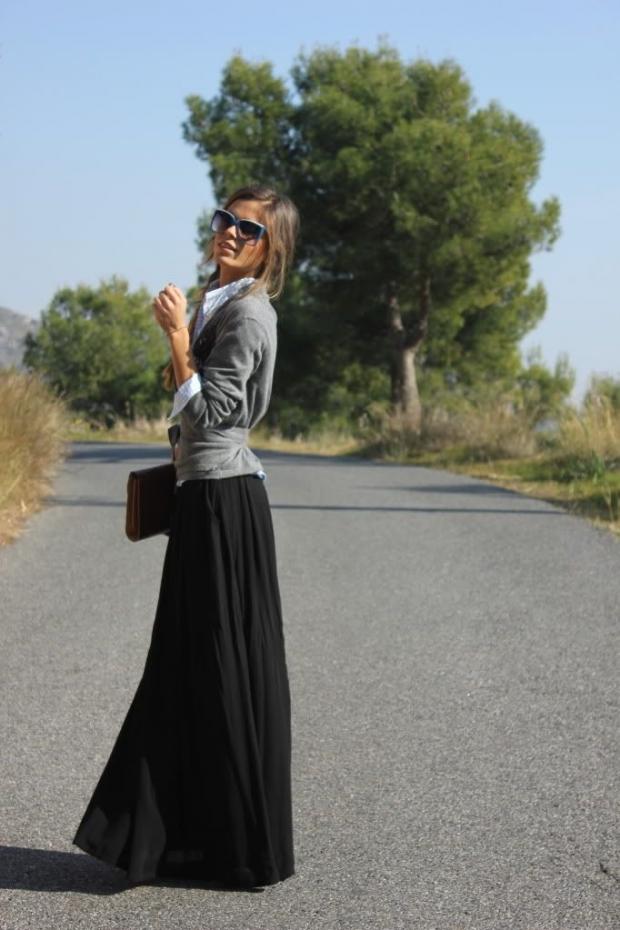юбка-солнце в пол и джемпер