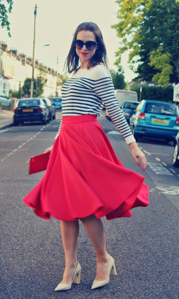 юбка-солнце красная
