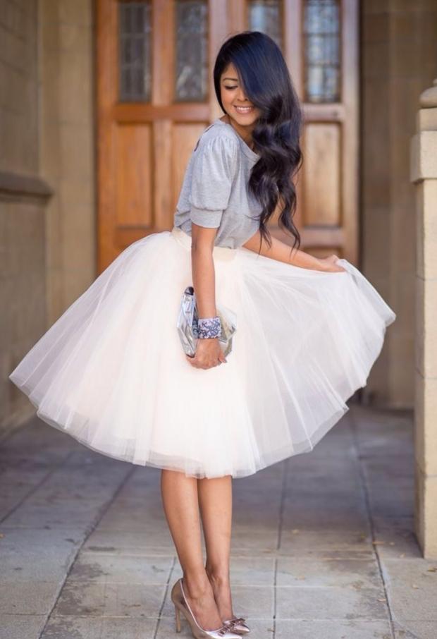 юбка-солнце белая
