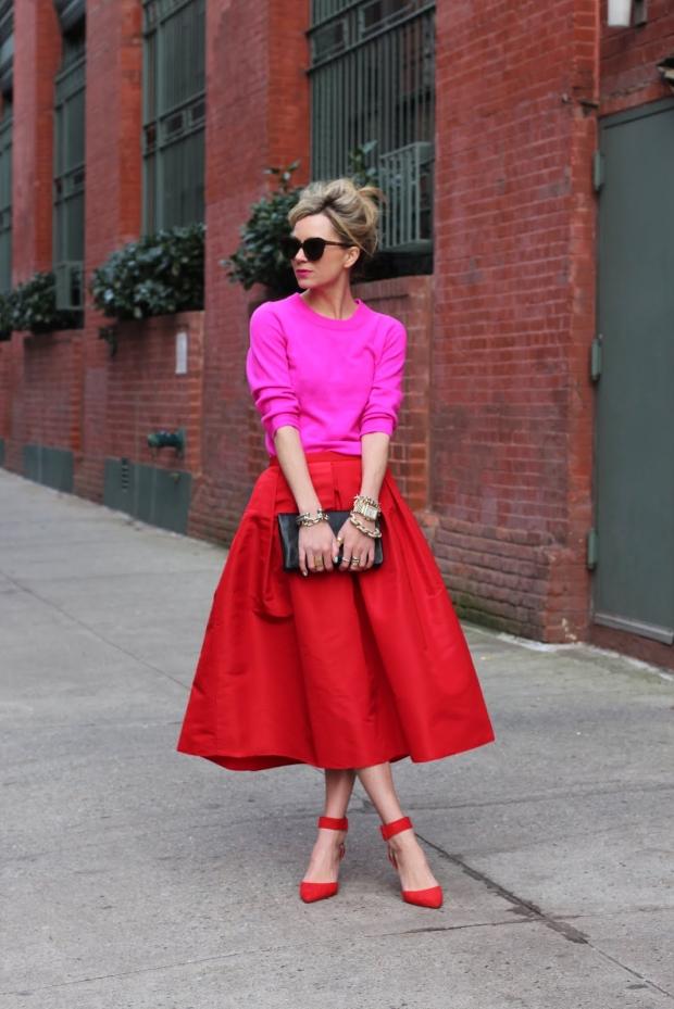 юбка-солнце серая с розовым