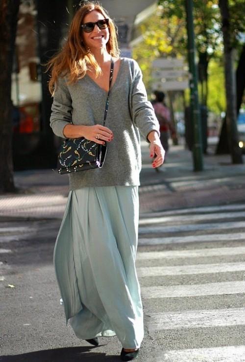 юбка-солнце серая со свитером