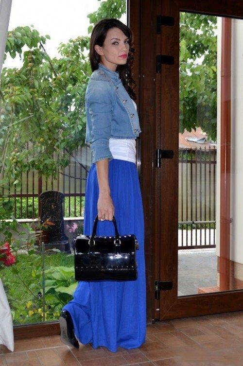 юбка в пол синяя с джинсовкой