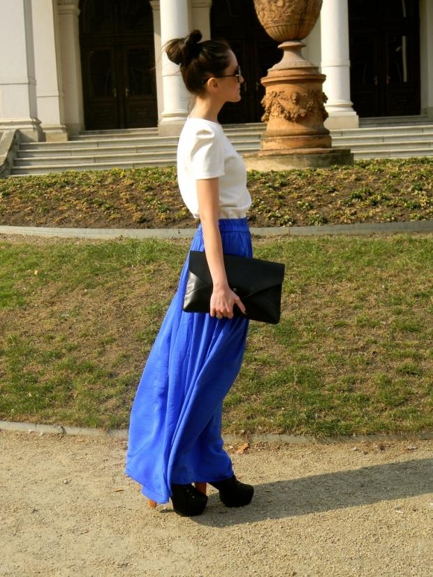 юбка в пол синяя с сумочкой