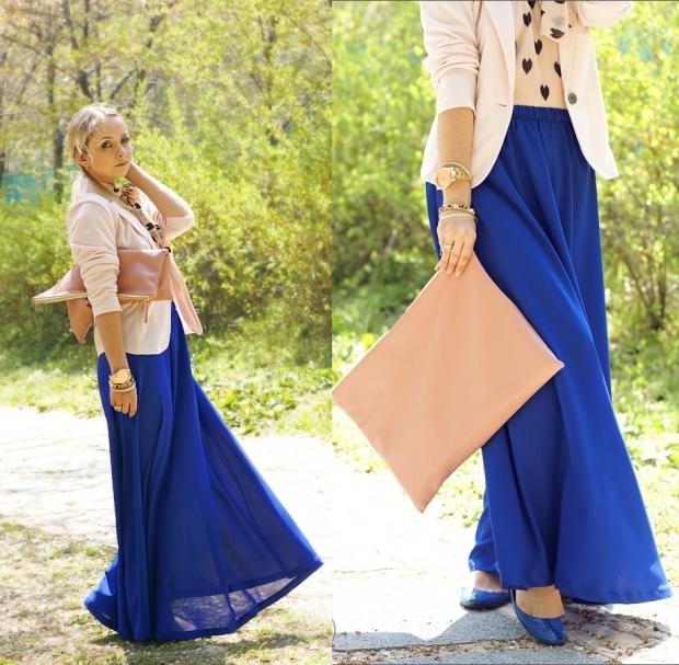 юбка в пол синяя с бежевым