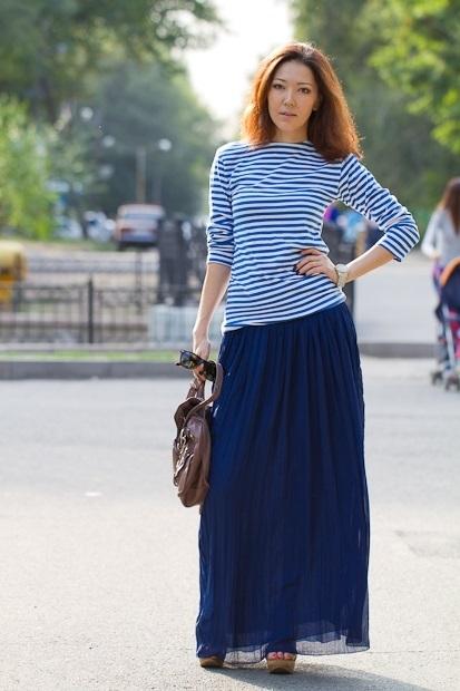 юбка в пол синяя с тельняшкой