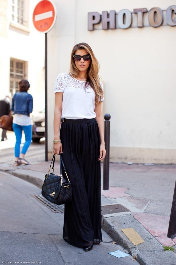 юбка в пол черная с белым