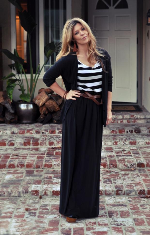 юбка в пол черная с полосатым верхом