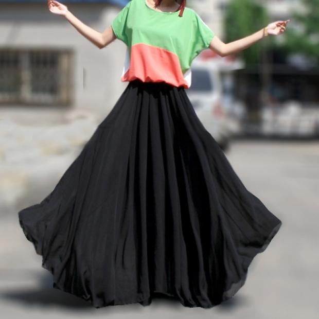 юбка в пол черная с разноцветным топом