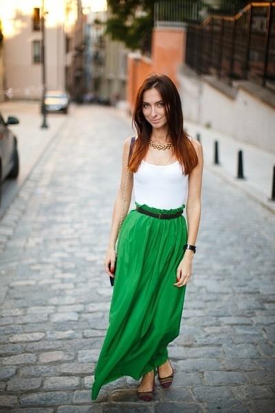 юбка в пол зеленая