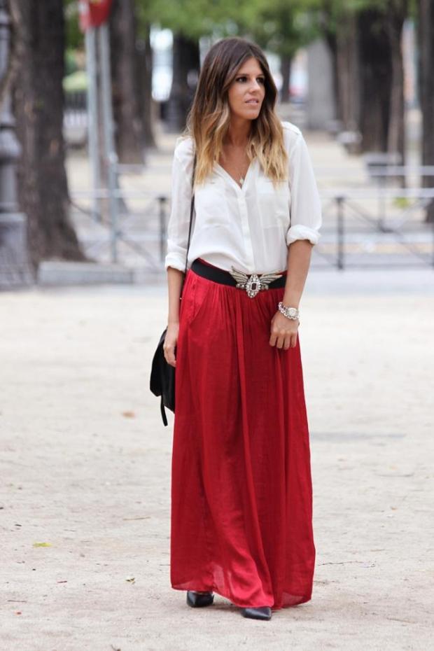 юбка в пол красная