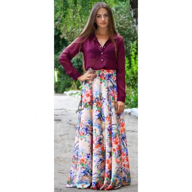 юбка в пол с цветочным принтом