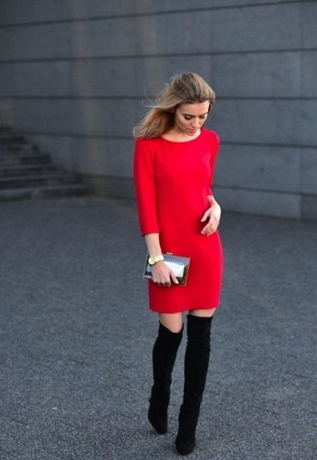 Сапоги под платье до колена