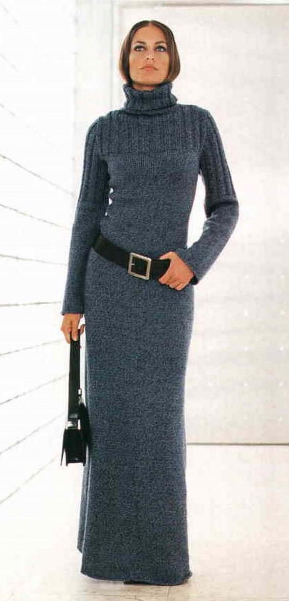 платье вязаное длинное фото