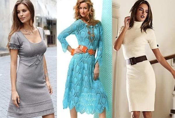 Вязанные платья с поясом