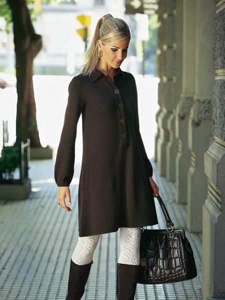 Вязаные платья с сапогами