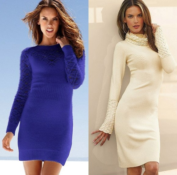 вязаное платье с чем носить и как выбрать фото