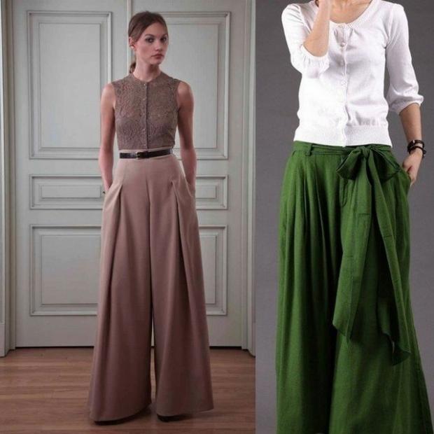 Сочетание брюк с юбкой