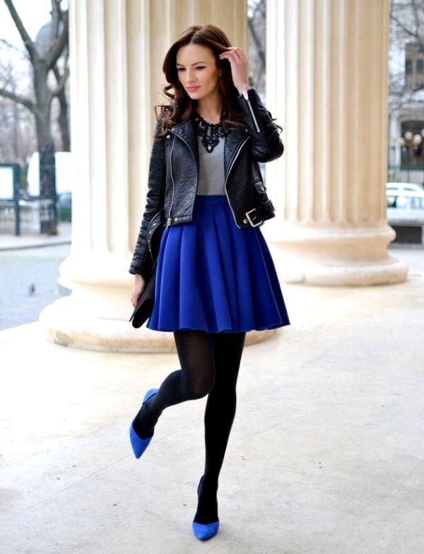 Синяя мини  с чем носить