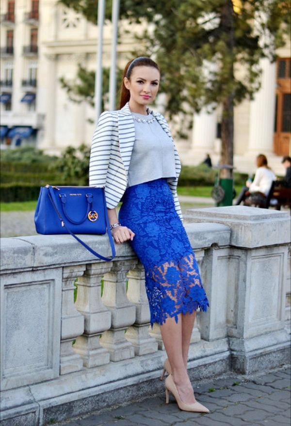 Синяя юбка карандаш 2017