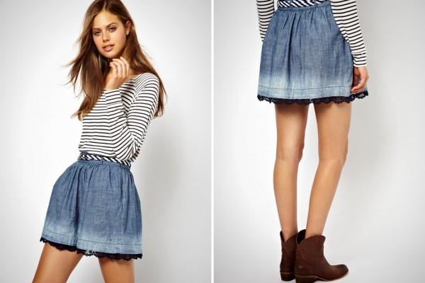 С чем носить короткую джинсовую юбку? Романтический образ