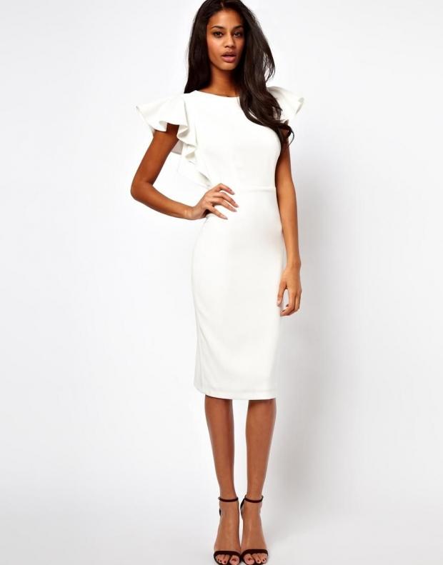 Офисное белое платье фото
