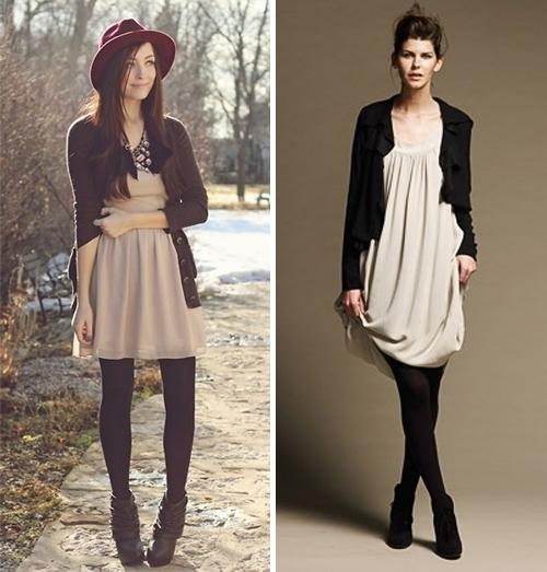 Что надеть с бежевым платьем