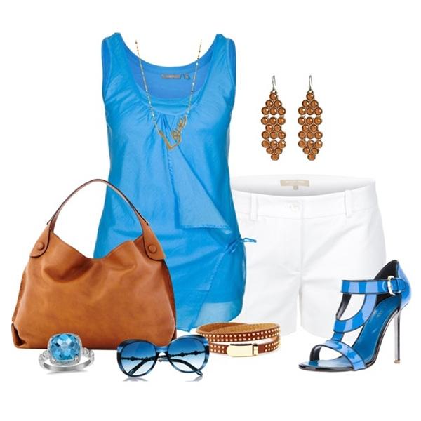С чем одеть голубые босоножки