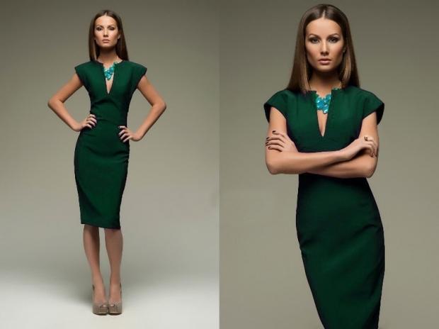 Фото платья темно зеленого цвета
