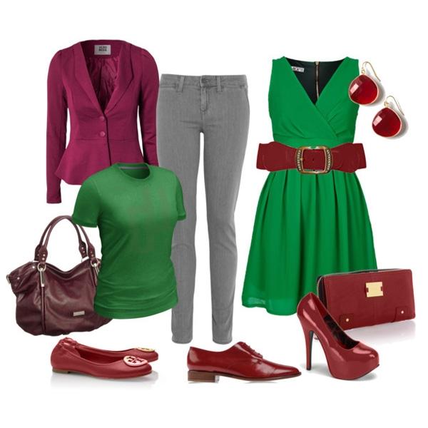 С чем носить темно зеленое платье