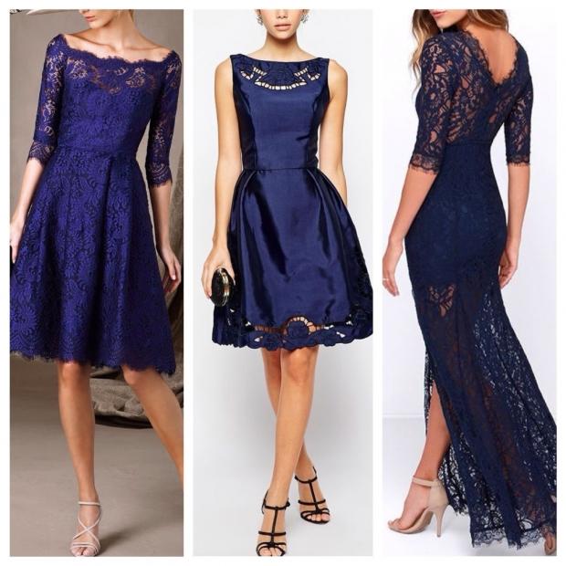 Синее кружевное платье с чем одеть
