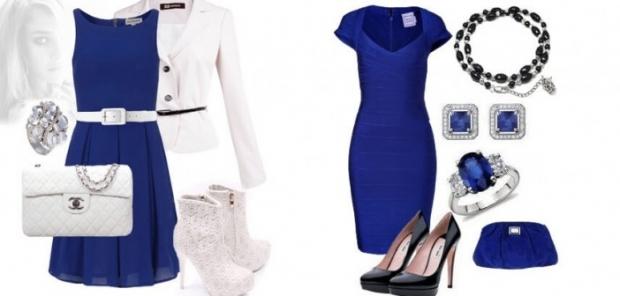 Создать образ к синему платью