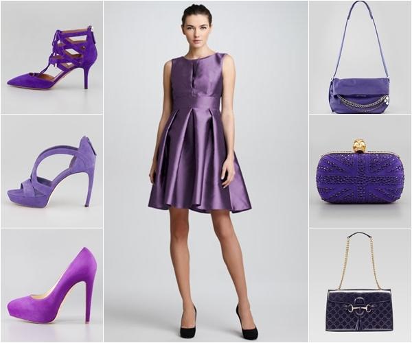 Какие туфли одеть с фиолетовым платьем