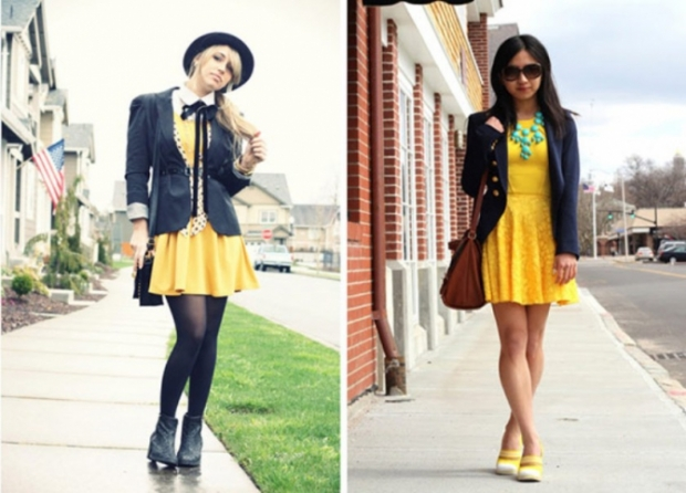 Желтое платье с желтыми колготками