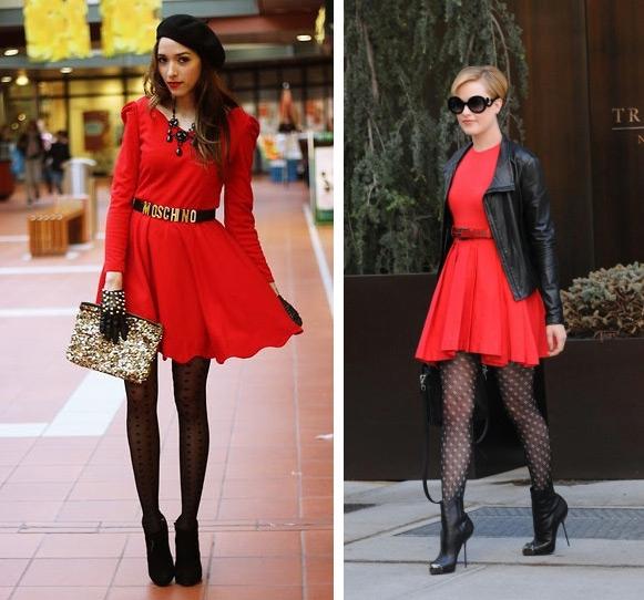 a3d7a8bb2a1 Подходящий вариант – тёмные капроновые колготки с мелким узором. На  подиумах стилисты предлагают под красное платье надевать розовые и такие же  алые ...