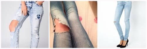 Дырка на джинсах на коленки