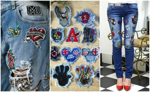Оригинально оформить дырки на джинсах