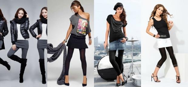 Лосины с джинсовой юбкой